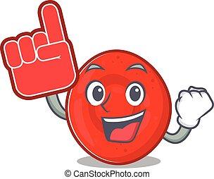 Erythrocyte cell mascot cartoon style holding a Foam finger...