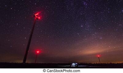 Erzeugen, Macht,  starry,  Timelapse, Turbinen, Drehen, hintergrund, Nacht,  Wind, himmelsgewölbe