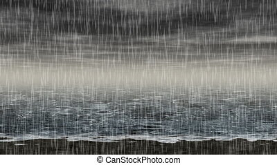 erzeugt, meer, regnerisch, landschaftsbild, seaml