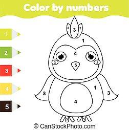 erzieherisch, färbung, farbe, game., kinder, printable, zahlen, aktivität, parrot., seite