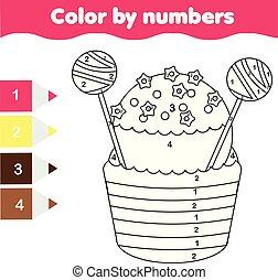 erzieherisch, färbung, farbe, game., kinder, printable, zahlen, aktivität, seite, cupcake.