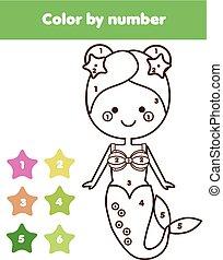 erzieherisch, färbung, farbe, game., mermaid., kinder, printable, zahlen, aktivität, seite