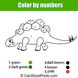 erzieherisch, färbung, farbe, spiel, zeichnung, dinosaurierer, kinder, zahlen, stegosaurus., activity., kinder, seite
