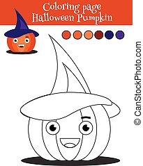erzieherisch, färbung, spiel, halloween, pumpkin., seite, kinder, aktivität, zeichnung