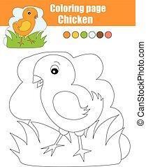 erzieherisch, färbung, spiel, seite, chicken., kinder, aktivität, zeichnung