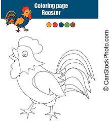 erzieherisch, färbung, spiel, seite, kinder, aktivität, zeichnung, rooster.