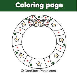 erzieherisch, färbung, spiel, wreath., zeichnung, kinder, aktivität, weihnachten, seite