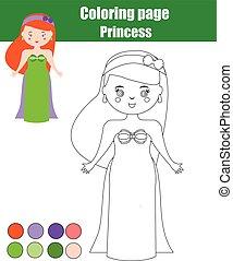 erzieherisch, färbung, spiel, zeichnung, aktivität, princess., kinder, seite