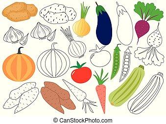 erzieherisch, färbung, vegetables., book., spiel, vektor, children., illustration.