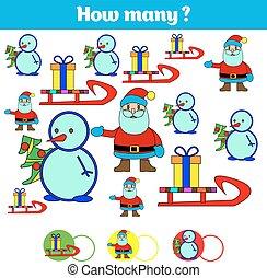 erzieherisch, kinder, lernen, gegenstände, viele, spiel, sheet., abbildung, numbers., wie, vektor, mathematik, aktivität, zählen, kinder, task.