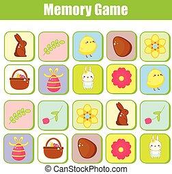 erzieherisch, toddlers., game., thema, spiel, gedächtnis, ostern, kinder
