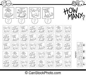 erzieherisch, zählen, hunden, spiel, karikatur