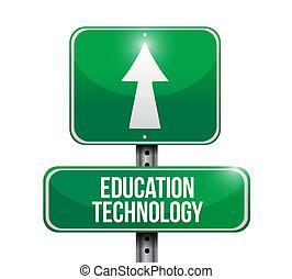 erziehung technologie, straßenschild, begriff