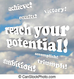 erzielen, -, ermutigung, potential, wörter, dein