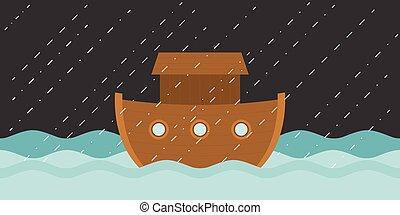eső, vektor, tervezés, lakás, ábra, noé bárkája