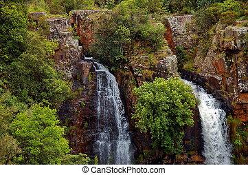 esőkabát, esőkabát, vízesés, dél-afrika