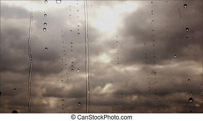 esős, elhomályosul, repülés, feláll, gyorsan, át, megrohamoz, ablak, becsuk, kilátás