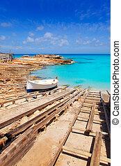 Es Calo de San Agusti port in Formentera island wooden boat ...