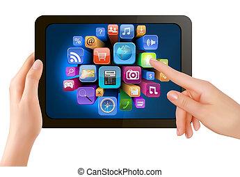 es, pantalla, iconos, mano, PC, conmovedor, vector,...