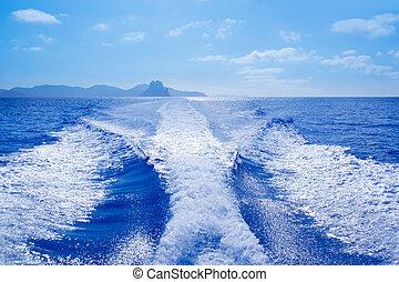 es vedra, y, vedranell, islas, barco, estela