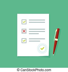 esame, lista, foglio, risultati, quiz, carta, forma, prova, esame, documento