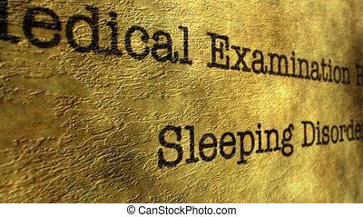 esame medico, disordine addormentato