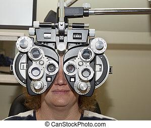 esame, occhio, femmina, phoropter, prendere