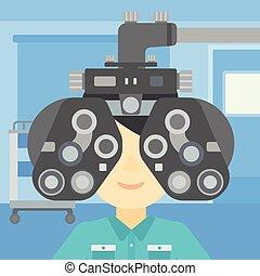 esame occhio, illustrazione, vettore, paziente, durante