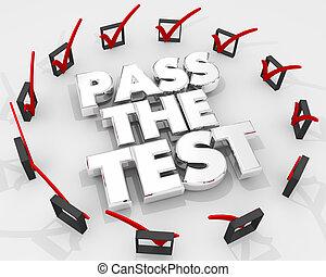 esame, passare, illustrazione, quiz, scatole, contrassegni, prova, assegno, 3d