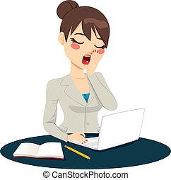 esaurito, donna d'affari, sbadigliare