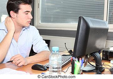 esaurito, lavoratore, ufficio