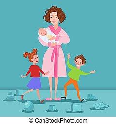 esaurito, madre, con, neonato, e, children., stanco, cartone animato, donna, e, romping, kids., maternità, concept., vettore, illustrazione