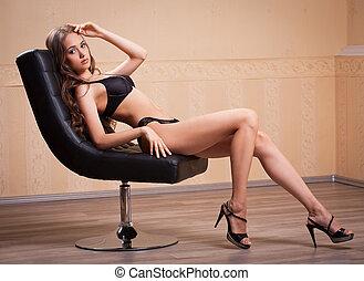 esbelto, langerie, sensual, ajustar, brunette.
