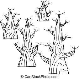 esboçado, árvores nuas