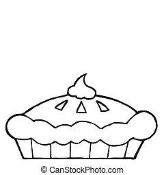 esboçado, ação graças, torta
