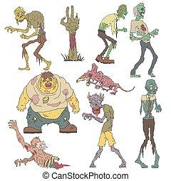 esboçado, arrepiado, zombies, desenhos
