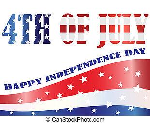 esboçado, bandeira, ilustração, americano, julho 4th