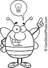 esboçado, bom, idéia, abelha