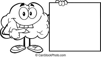 esboçado, cérebro, com, um, sinal branco