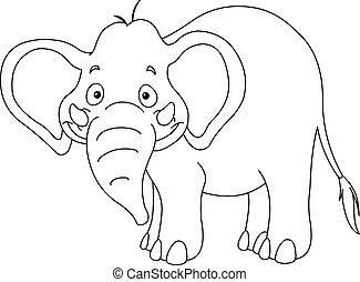 esboçado, elefante