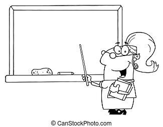 esboçado, escola, professor feminino