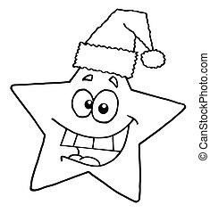 esboçado, estrela, sorrindo