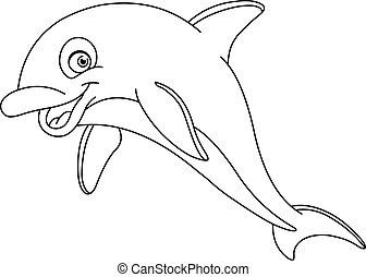 esboçado, golfinho