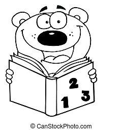 esboçado, livro, leitura, urso, feliz