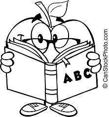 esboçado, livro, maçã, professor