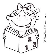 esboçado, livro, menina, criança, leitura