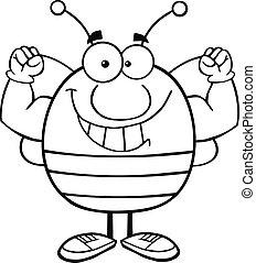 esboçado, músculo, mostrando, braços, abelha