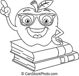 esboçado, maçã, esperto