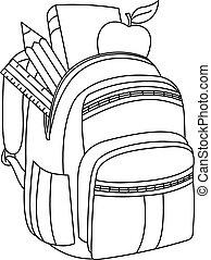 esboçado, mochila, escola