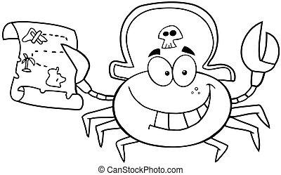 esboçado, pirata, carangueijo